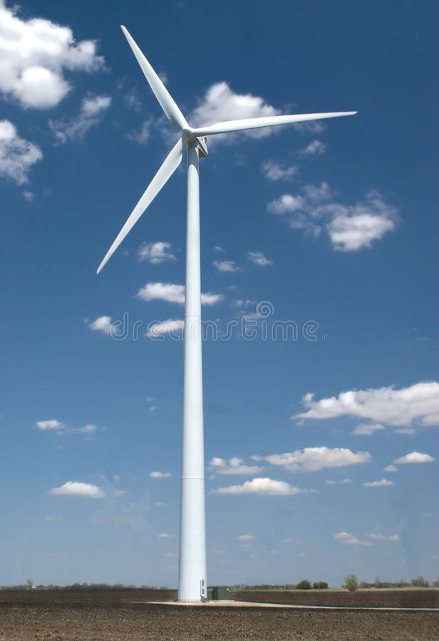 Wind Mill. Just outside Rochester, Minnesota. Clipping path around windmill excludes sky and ground stock photos