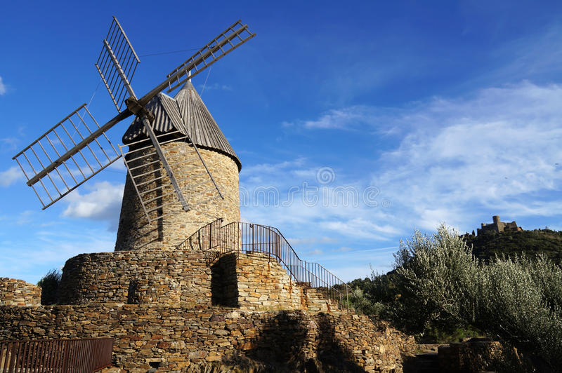 Download Wind mill of Collioure stock photo. Image of mill, europe - 27465772