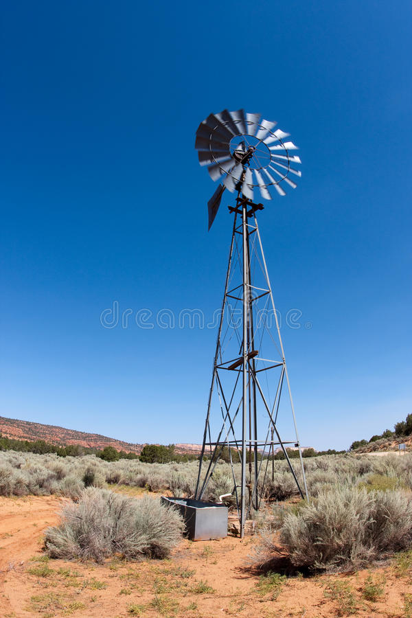 Wind Mill on the Desert stock photography