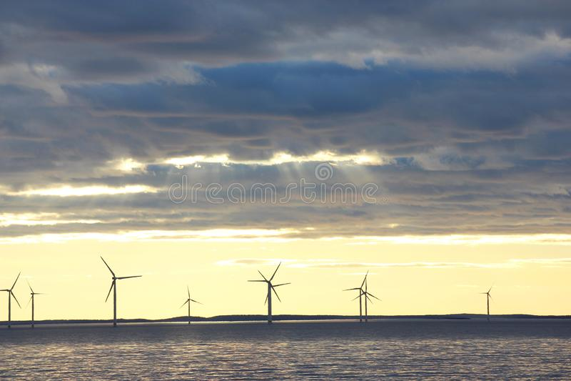 Wind mill farm stock photo