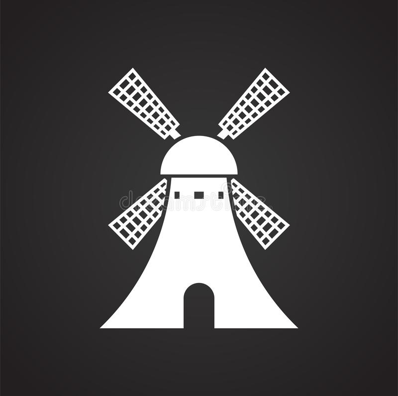 Wind mill icon on background for graphic and web design. Simple illustration. Internet concept symbol for website button. Or mobile app stock illustration