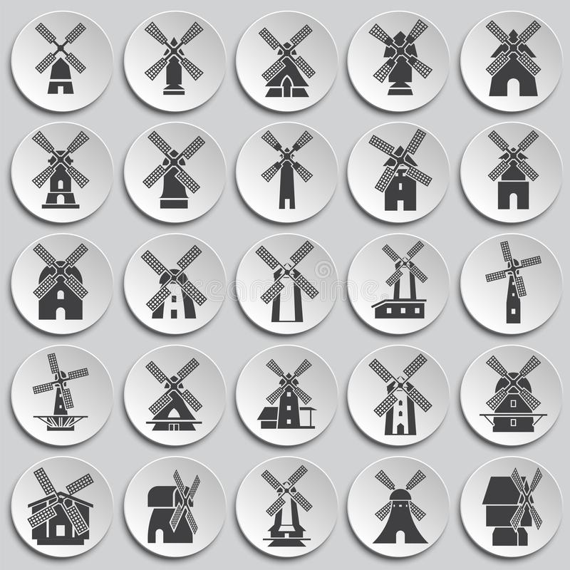 Wind mill icons set on background for graphic and web design. Simple illustration. Internet concept symbol for website. Button or mobile app vector illustration