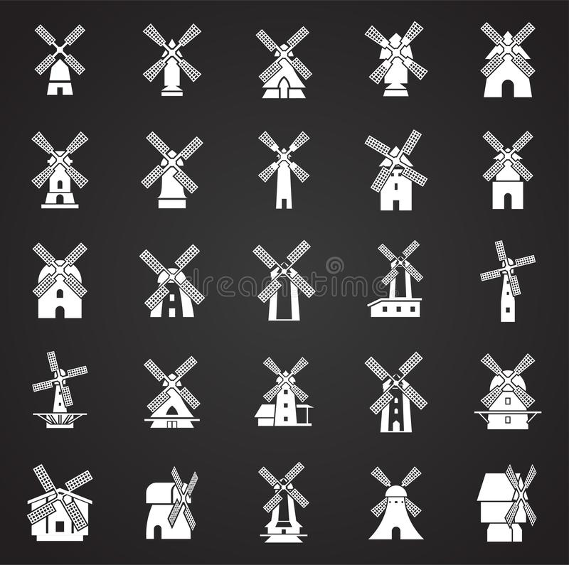 Wind mill icons set on background for graphic and web design. Simple illustration. Internet concept symbol for website. Button or mobile app royalty free illustration