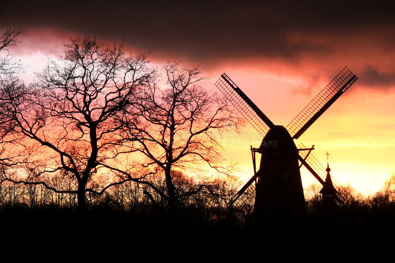 Download Wind mill silhouette stock photo. Image of visit, panoramic - 462302