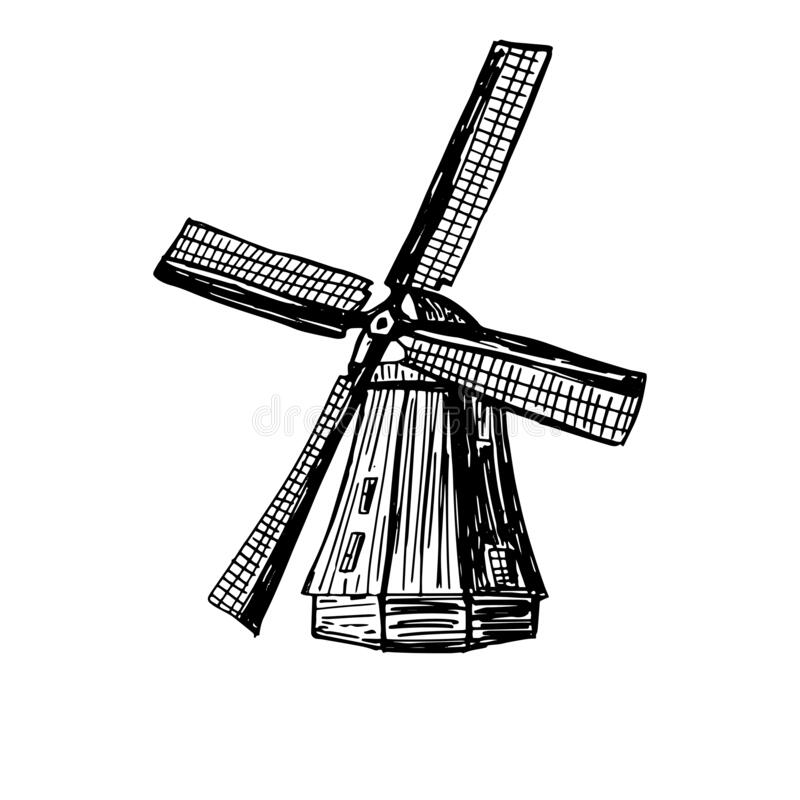Free Wind Mill, Windmill Hand Drawn Sketch Vector Engraved Illustration. Old Building Emblem, Logo, Banner, Badge For Poster Royalty Free Stock Images - 192093349