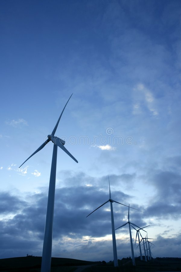 Wind mills aerogenerator, ecological energy stock images