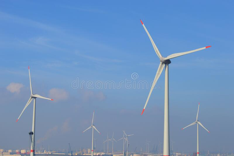 Wind Mills in Antwerp, Belgium royalty free stock photos