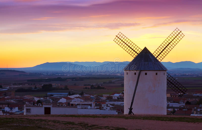 Wind mills at Campo de Criptana in evening. Time. La Mancha, Spain royalty free stock images