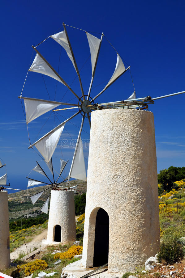 Download Wind mills in Crete stock image. Image of lassithi, isolated - 11107171