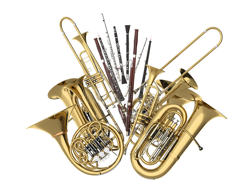 Wind musical instruments isolated on white. 3d render royalty free stock image