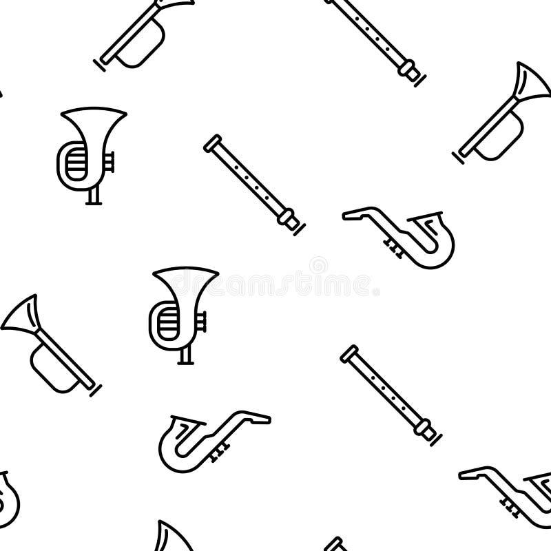 Wind-Musikinstrument-Vektor-nahtloses Muster stock abbildung