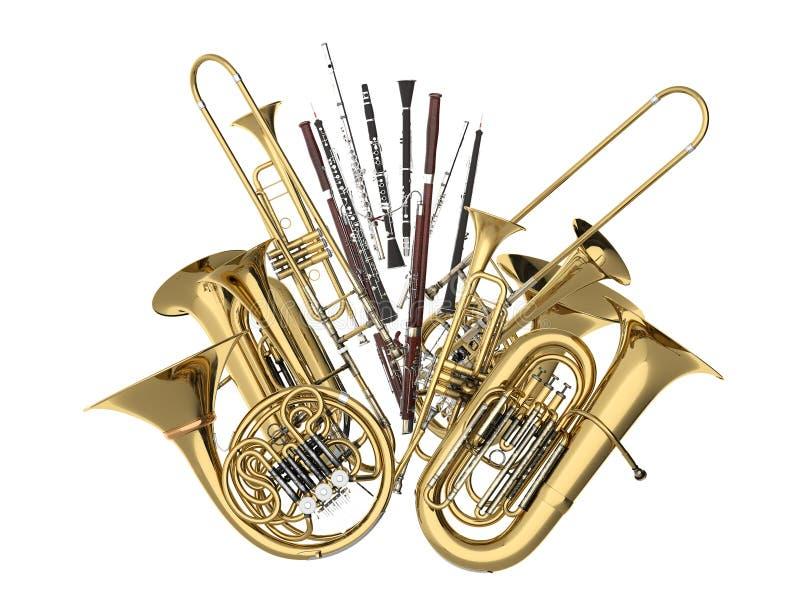 Wind muzikale die instrumenten op wit worden geïsoleerd royalty-vrije stock afbeelding