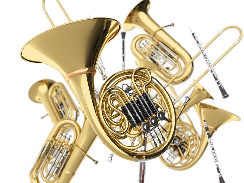 Wind muzikale instrumenten op wit royalty-vrije stock afbeeldingen