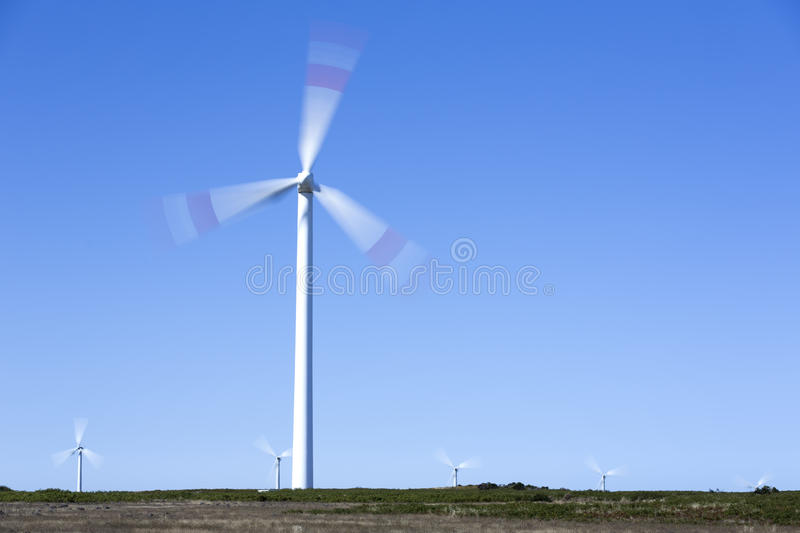 Wind park on the island of Madeira, Portugal stock photography