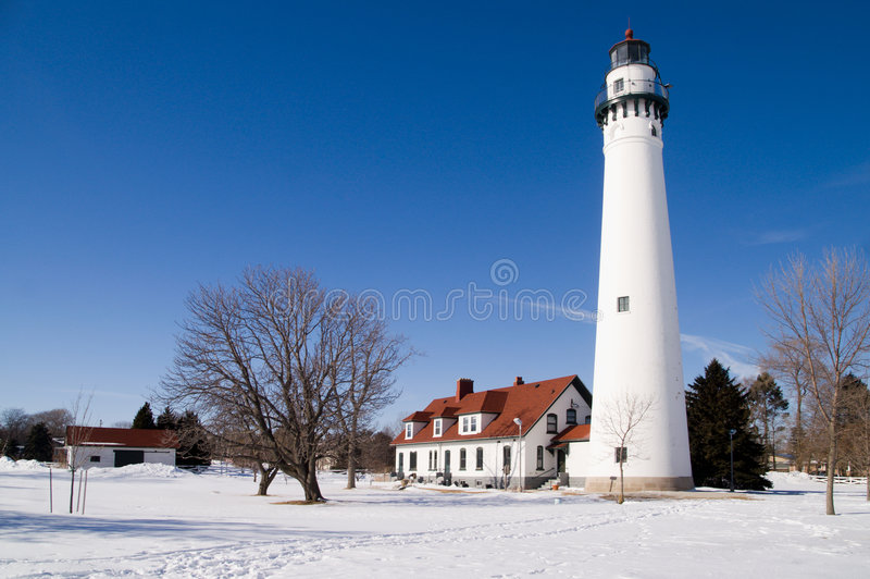 Download Wind Point Lighthouse stock image. Image of beacon, winter - 7961745