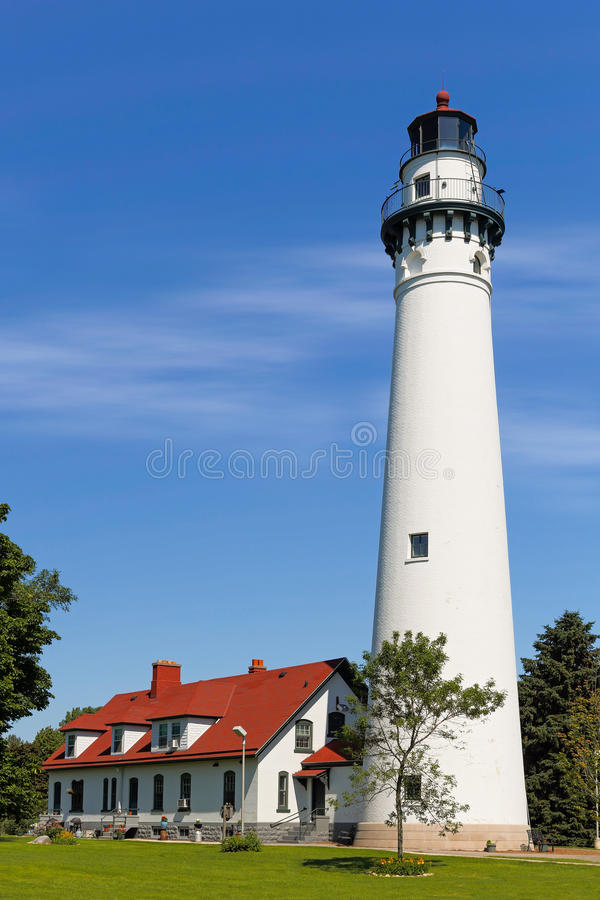 Wind Point Lighthouse in Wisconsin. Opened in 1880, Wisconsin's picturesque Wind Point Lighthouse marks the north end of harbor in Racine stock image