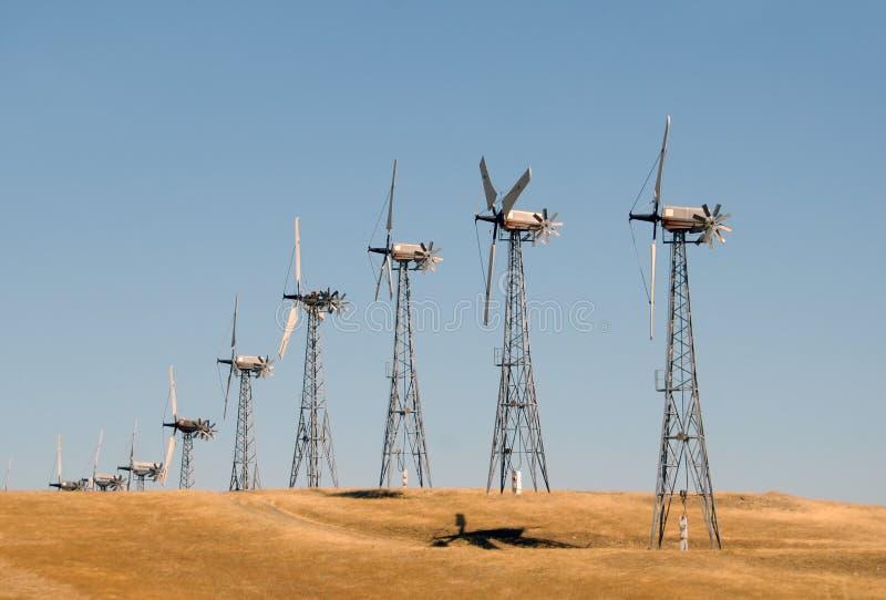 Wind power. Generators near San Francisco, California stock images
