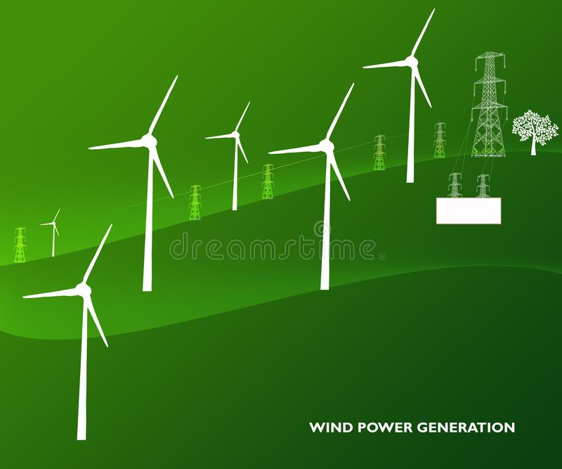 Wind Power Wind Energy Wind Electricity Generating Wind Turbines with Electricity Transmission Towers. On green background representing green environment royalty free illustration
