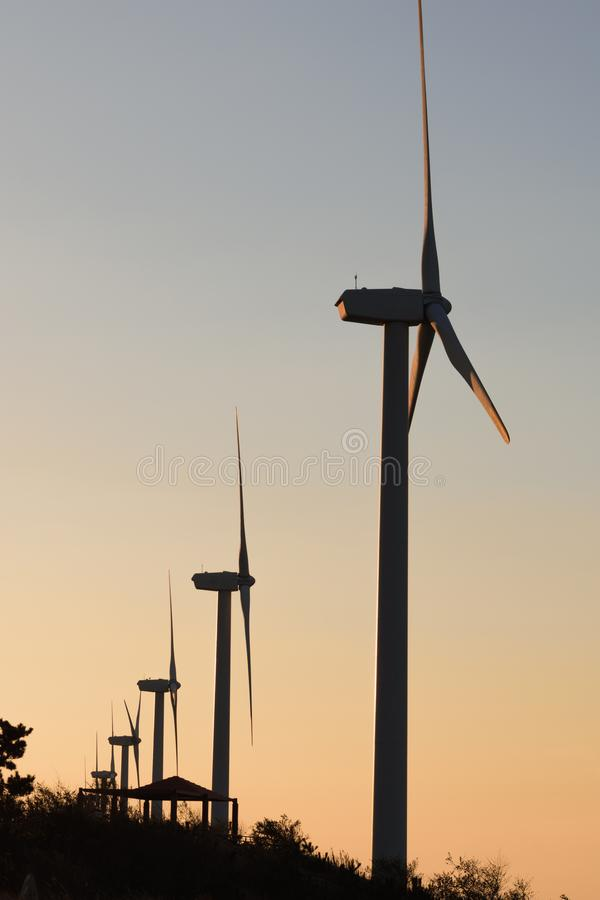 Wind power generator lined up at dusk or sunset making silhouette effect. royalty free stock image