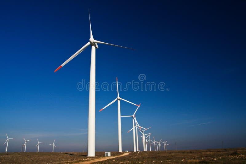 Wind power generators stock image