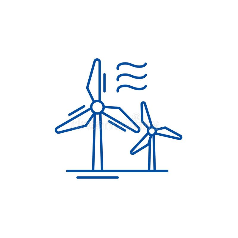 Wind power line icon concept. Wind power flat  vector symbol, sign, outline illustration. Wind power line concept icon. Wind power flat  vector website sign royalty free illustration