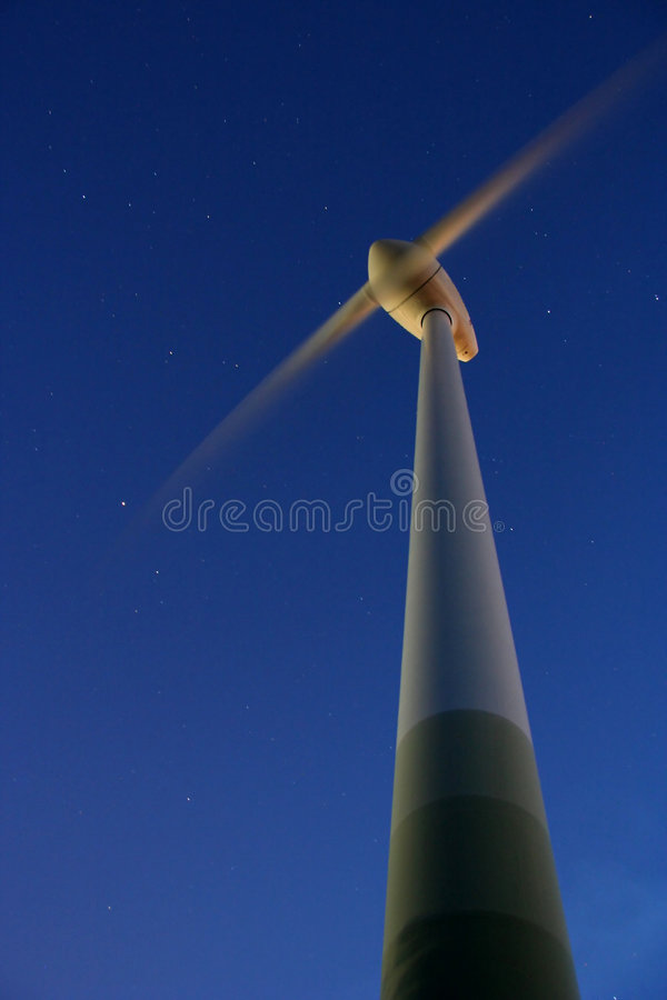 Wind Power by night stock photo