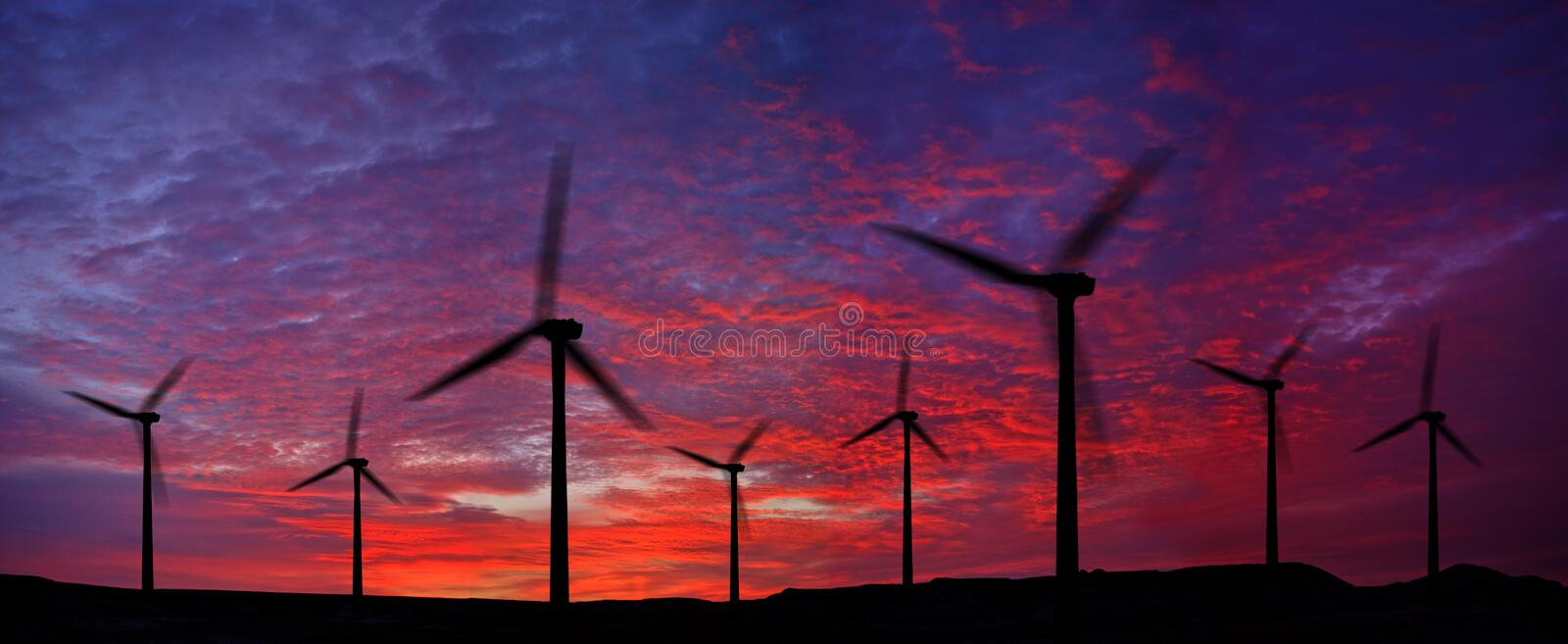 Wind power plant stock photo