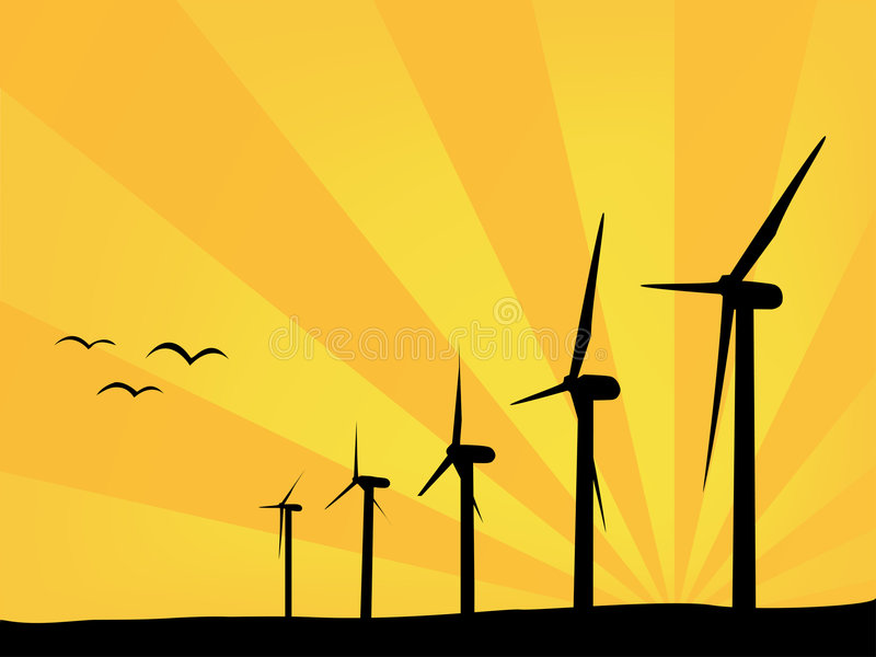 Wind power plants in summer stock photo