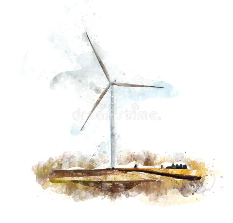 Wind power illustration stock illustration
