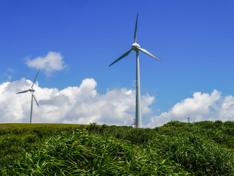 Wind power station in Yonaguni Island. Wind power station in eastern cape of Yonaguni Island, western border island of Japan. It's a part of Okinawa royalty free stock image
