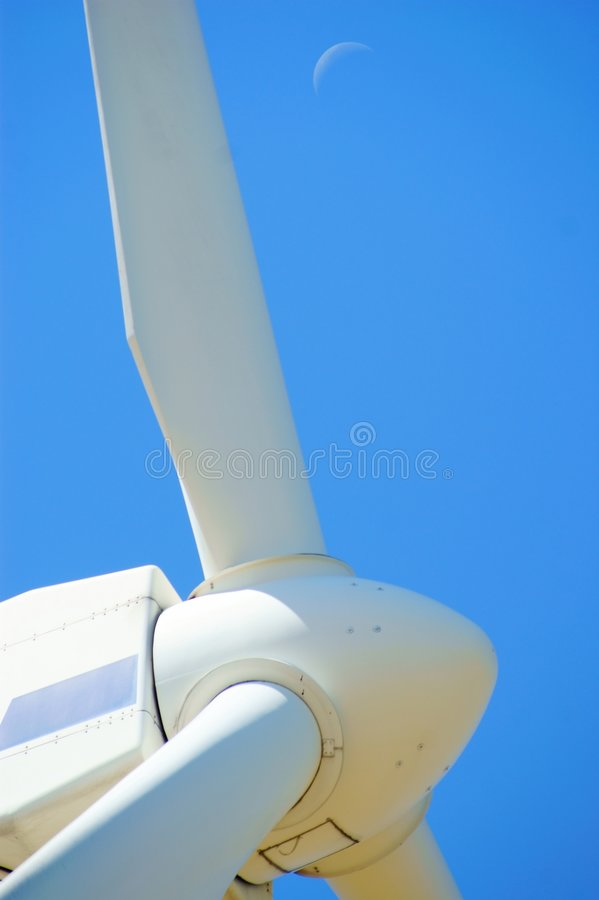 Free Wind Power - Turbine, Blue Sky And Moon Royalty Free Stock Images - 5998189