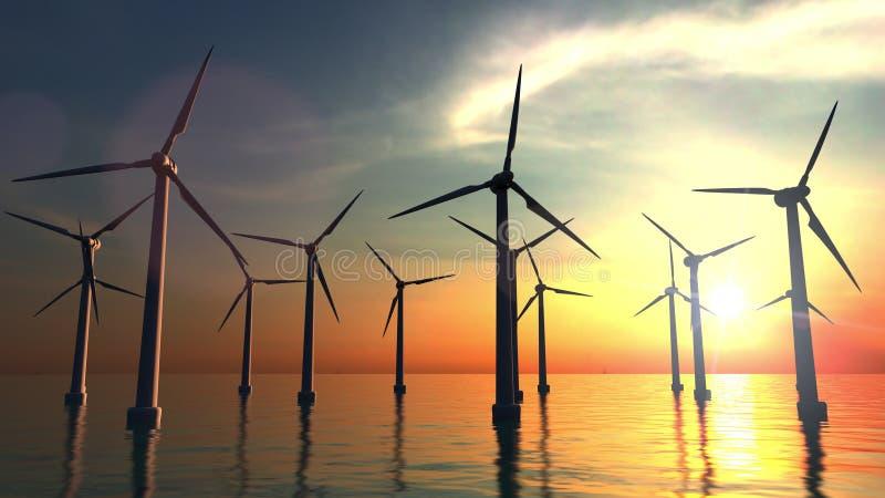 Wind power turbines at sea sunset. 3D rendering. Wind power turbines at sea sunset. 3D stock images