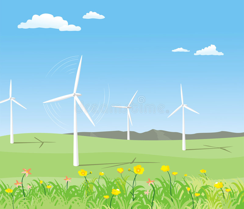 Wind-powered ilustração royalty free