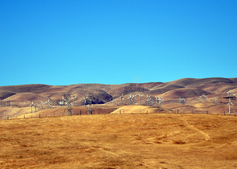 Wind-powered California. Windmills landscape nearby San Francisco royalty free stock photos