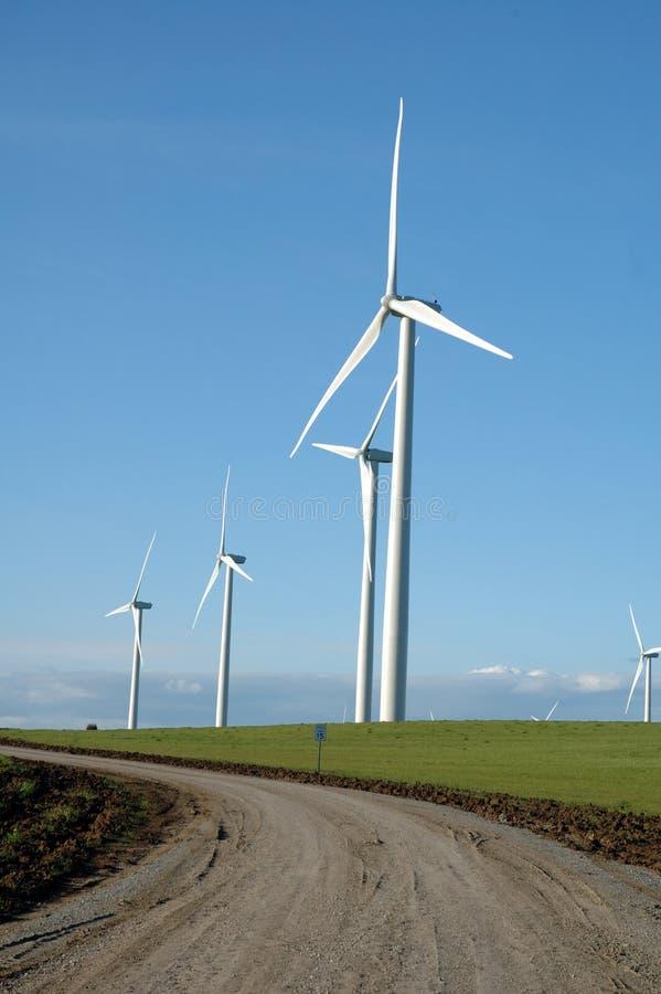 Wind powered generators stock photo