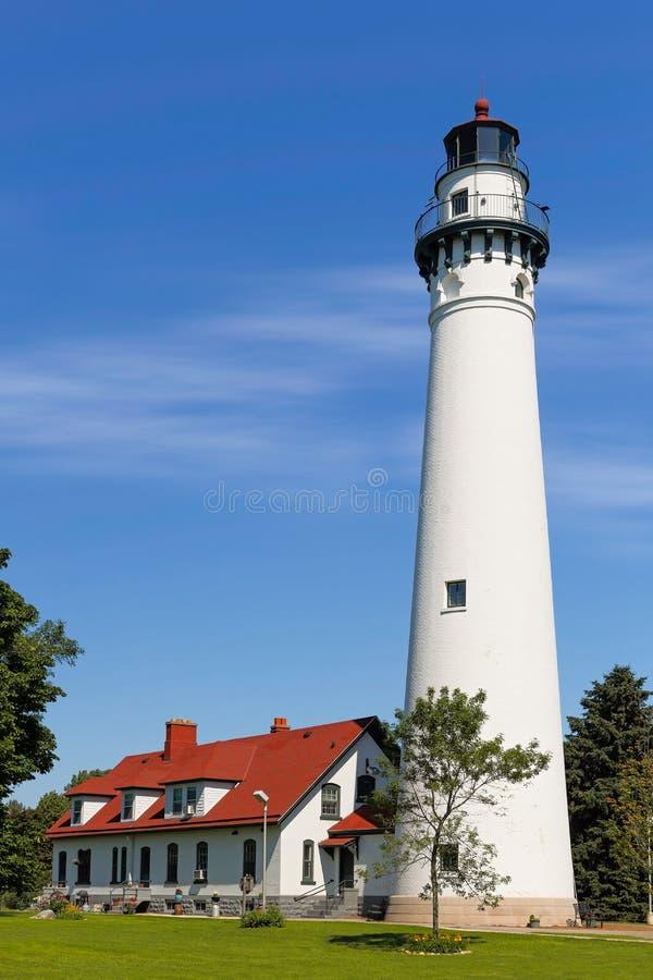 Wind-Punkt-Leuchtturm in Wisconsin stockbild