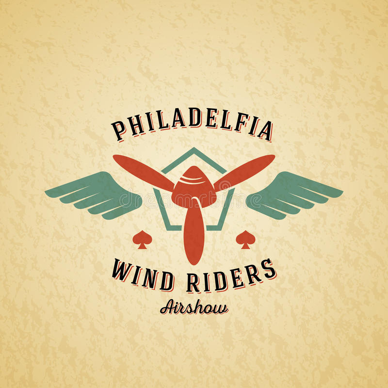 Wind Riders Airplane Vector Retro Label, Sign or Logo Template. Vintage Plane Airscrew in a Shield with Wings. Typography and Shabby Texture. On a Background stock illustration