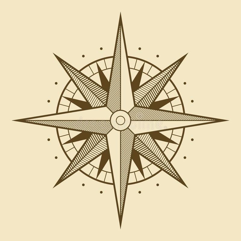 Wind rose. Vector oldstyle wind rose compass