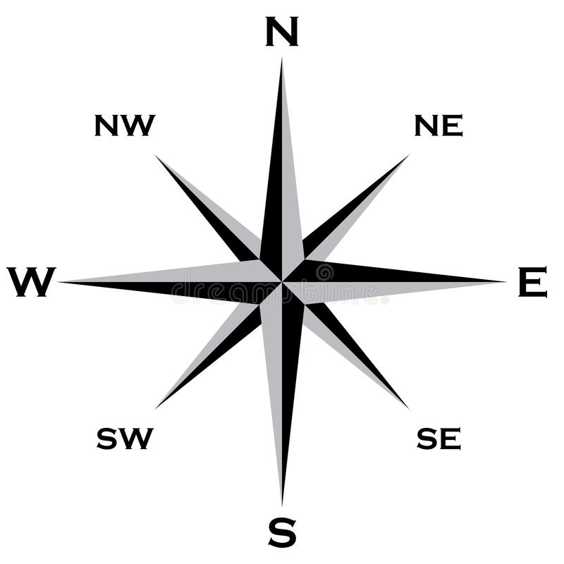 Wind Rose Cardinal Points Star grai and black Big EPS File. With intermediate values northwest, northeast, southwest, southeast royalty free illustration