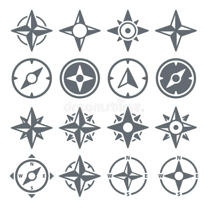 Wind Rose Compass Navigation Icons - Vektor-Illustration stock abbildung