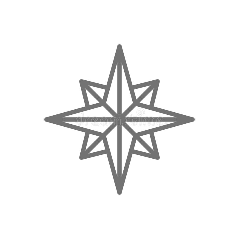 Wind rose, compass, navigation line icon. royalty free illustration