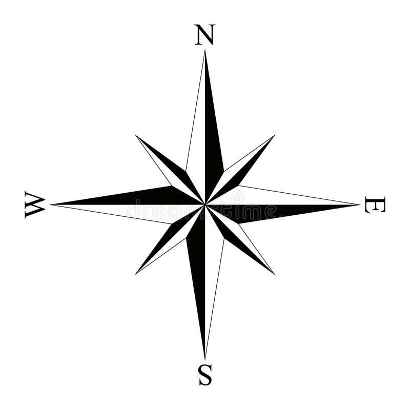 Black Wind Rose Compass Isolated On White Icon Graphic Nautical Design Elements Vector Illustration