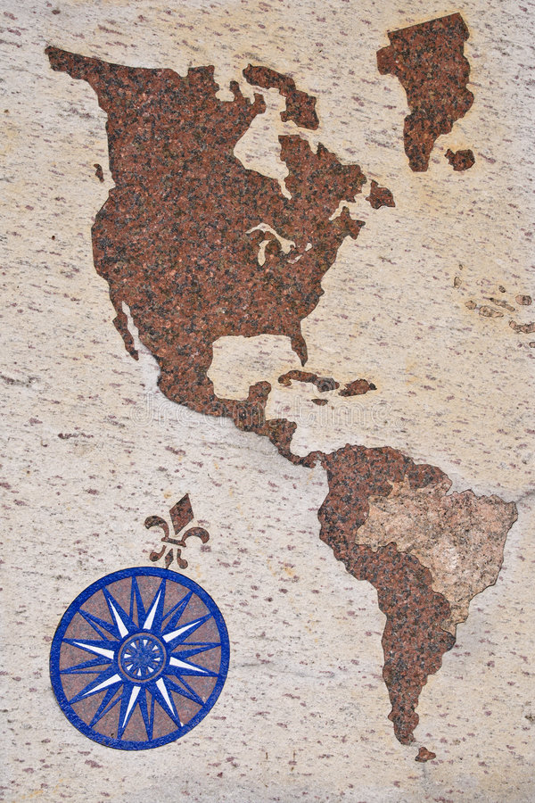 Wind Rose And Map Of Americas Royalty Free Stock Photo