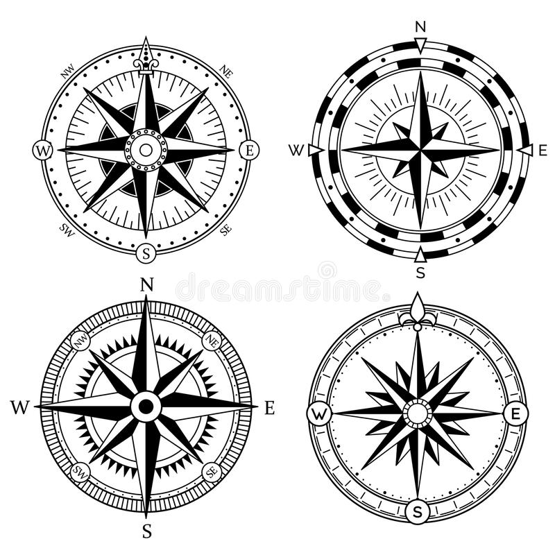 Wind rose retro design vector collection. Vintage nautical or marine wind rose and compass icons set, for travel stock illustration