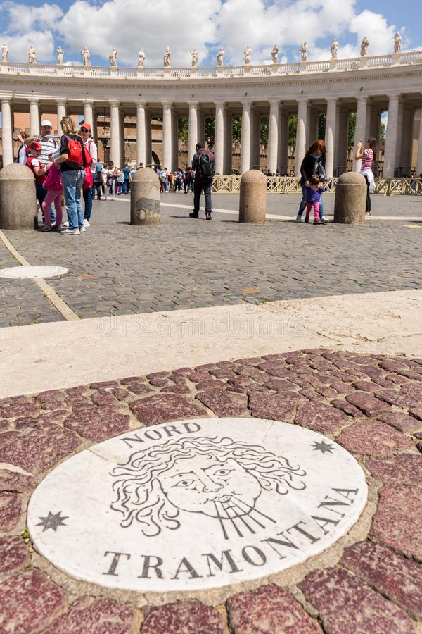 Wind rose in Saint Peter`s Square, Vatican City. stock photos