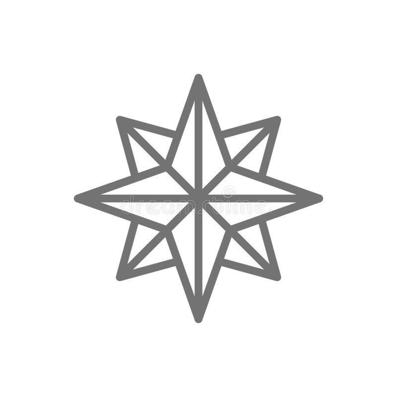 Wind rose, sides of the world, compass, direction, navigation line icon. royalty free illustration