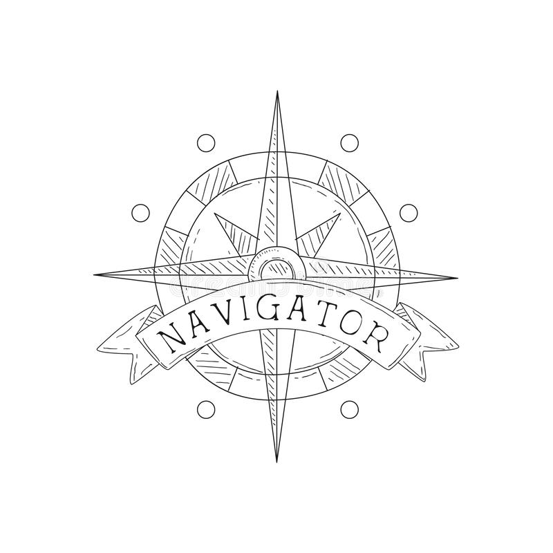 Wind Rose Vintage Sea And Nautical Symbol Hand Drawn Sketch Label Template. Part Of Marine Emblem Collection Of Artistic Retro Vector Illustrations stock illustration