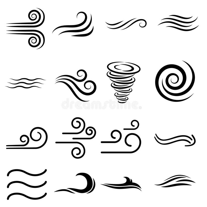 Free Wind Sign Black Thin Line Icon Set Include Of Storm, Wave, Flowing And Swirl. Vector Illustration Of Icons Stock Images - 177793994