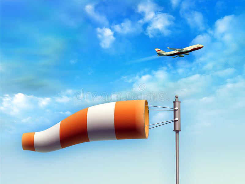 Wind sock. Indicating wind direction. An airplane is taking-off on background. Digital illustration royalty free illustration