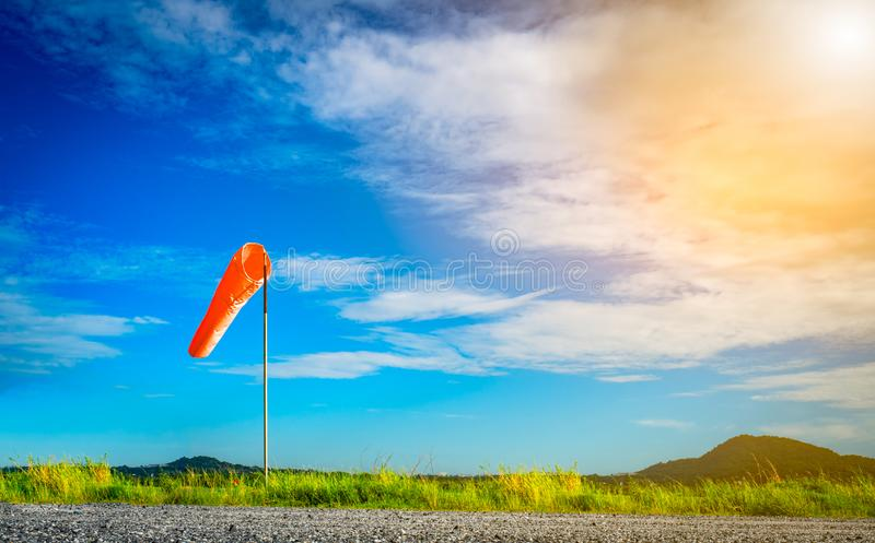 Wind sock on a pole with beautiful sky. royalty free stock photo